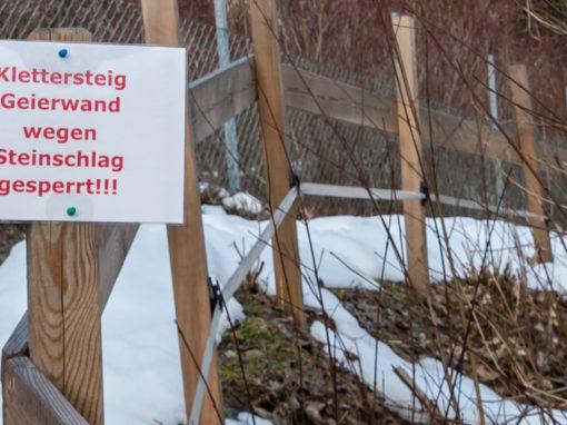 Geierwand Klettersteig noch gesperrt